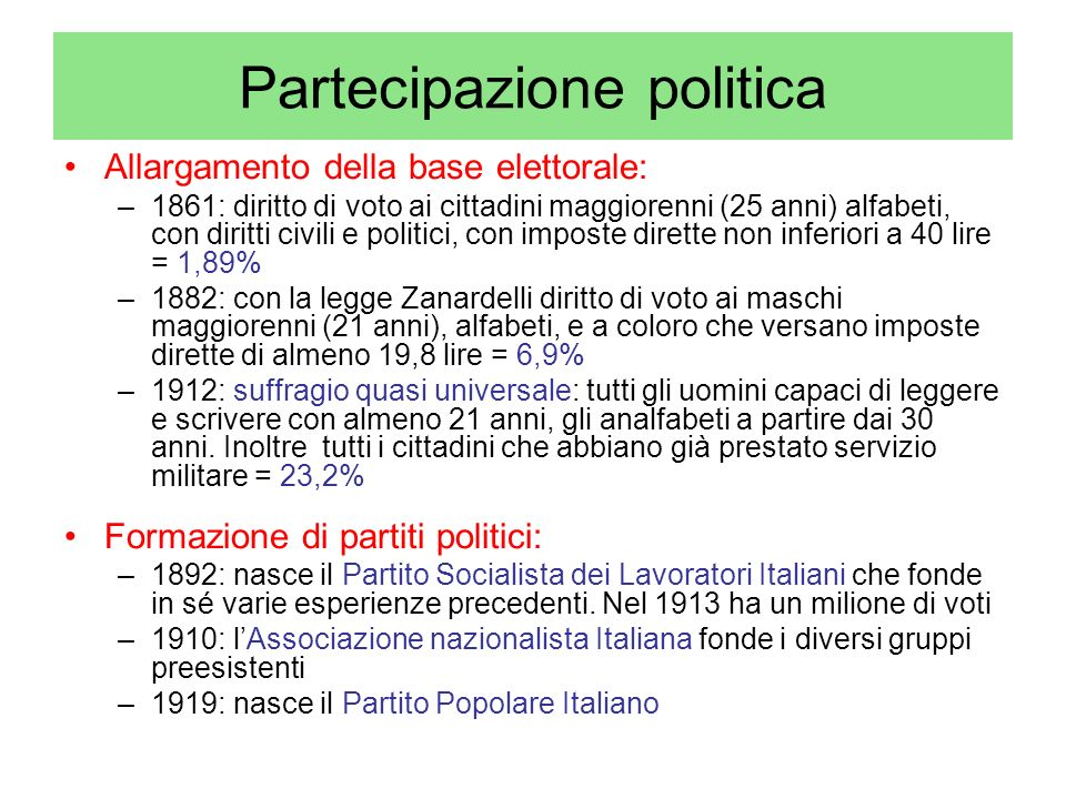 Partecipazione politica Allargamento della base elettorale: –1861: diritto di voto ai cittadini maggiorenni (25 anni) alfabeti, con diritti civili e p