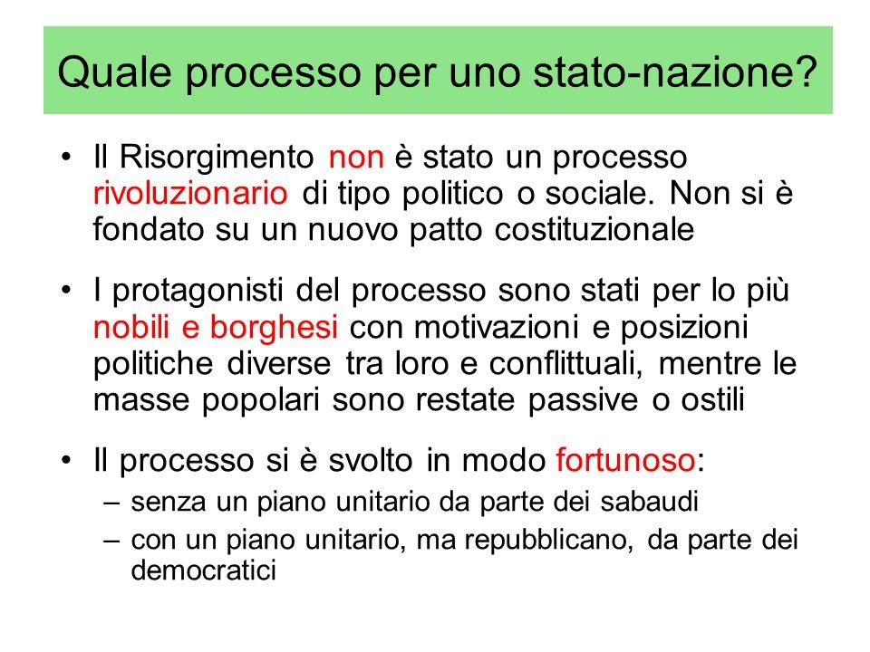 Quale processo per uno stato-nazione? Il Risorgimento non è stato un processo rivoluzionario di tipo politico o sociale. Non si è fondato su un nuovo
