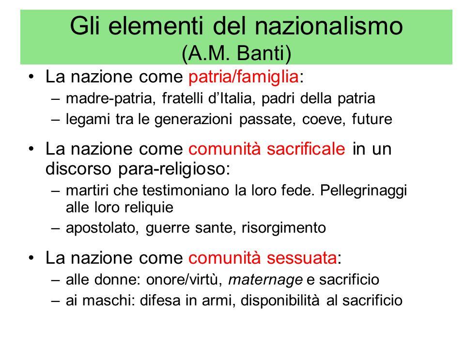 Gli elementi del nazionalismo (A.M. Banti) La nazione come patria/famiglia: –madre-patria, fratelli dItalia, padri della patria –legami tra le generaz