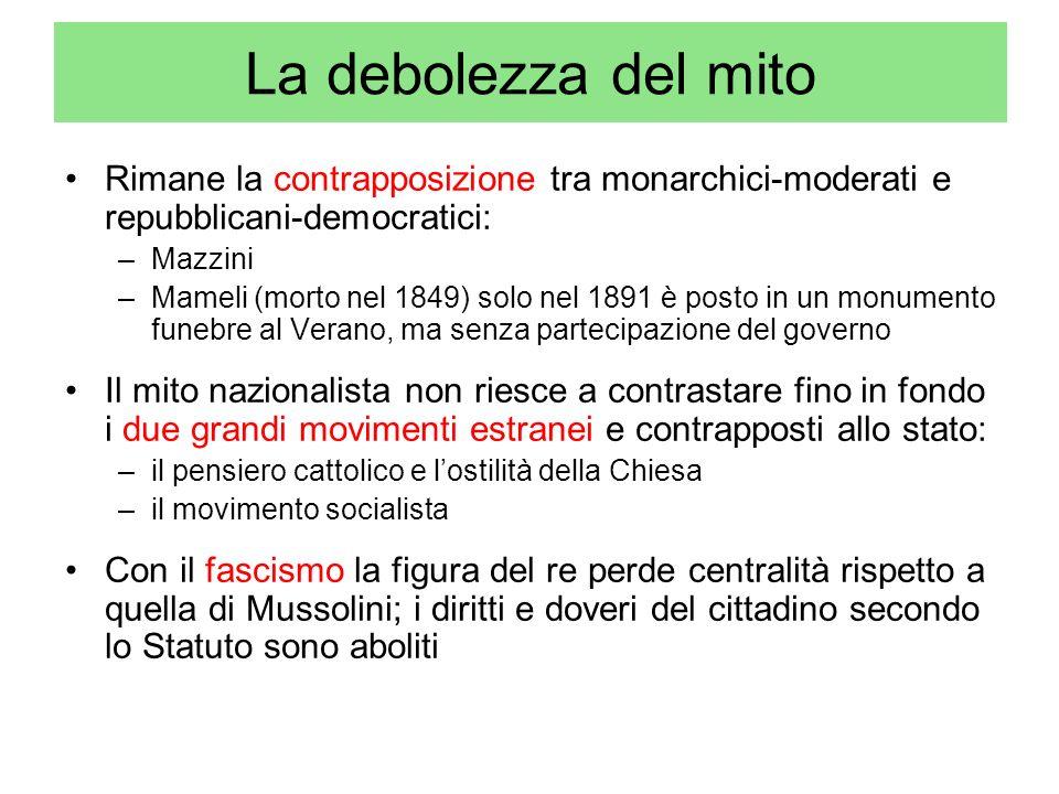 La debolezza del mito Rimane la contrapposizione tra monarchici-moderati e repubblicani-democratici: –Mazzini –Mameli (morto nel 1849) solo nel 1891 è