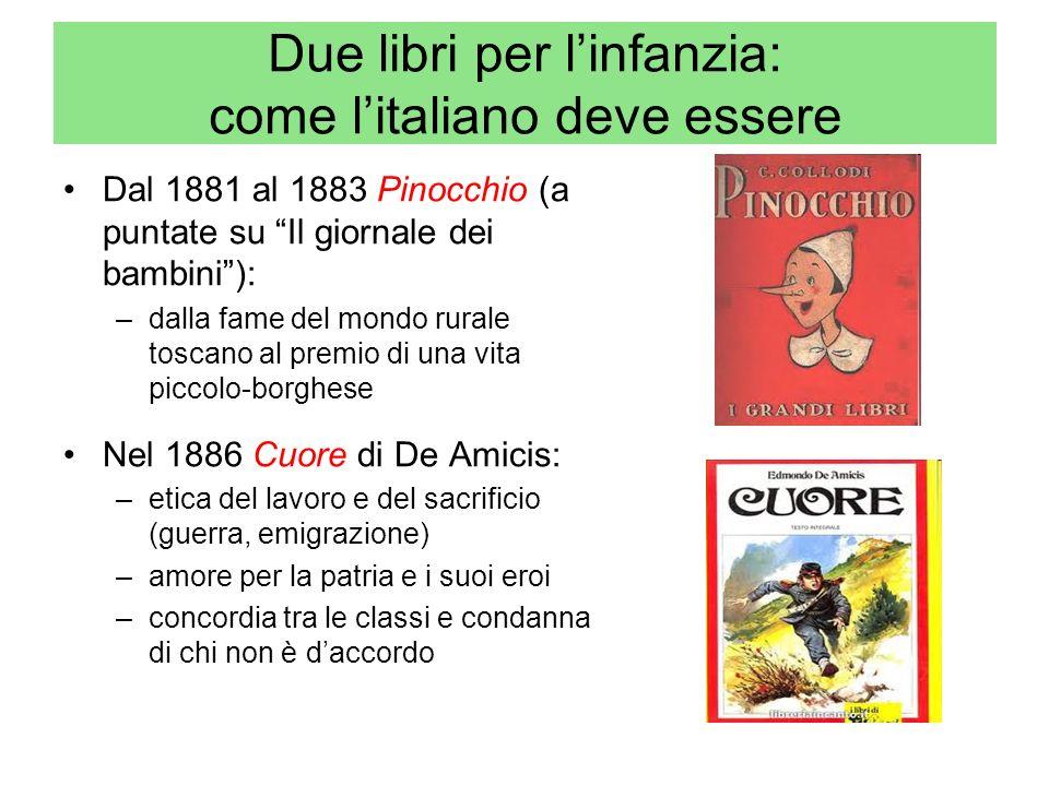 Due libri per linfanzia: come litaliano deve essere Dal 1881 al 1883 Pinocchio (a puntate su Il giornale dei bambini): –dalla fame del mondo rurale to