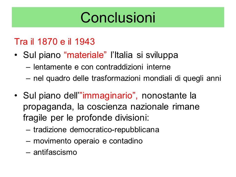 Conclusioni Tra il 1870 e il 1943 Sul piano materiale lItalia si sviluppa –lentamente e con contraddizioni interne –nel quadro delle trasformazioni mo