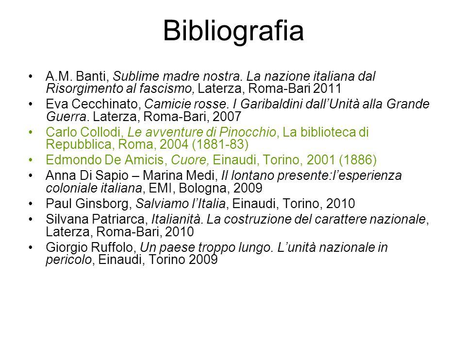 Bibliografia A.M. Banti, Sublime madre nostra. La nazione italiana dal Risorgimento al fascismo, Laterza, Roma-Bari 2011 Eva Cecchinato, Camicie rosse