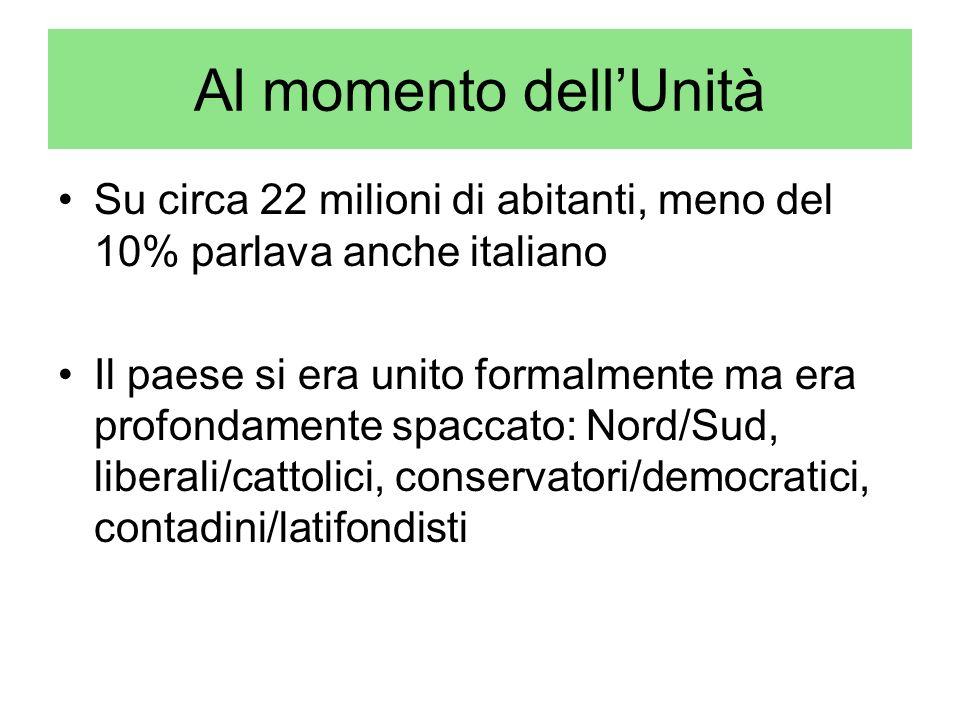 Al momento dellUnità Su circa 22 milioni di abitanti, meno del 10% parlava anche italiano Il paese si era unito formalmente ma era profondamente spacc
