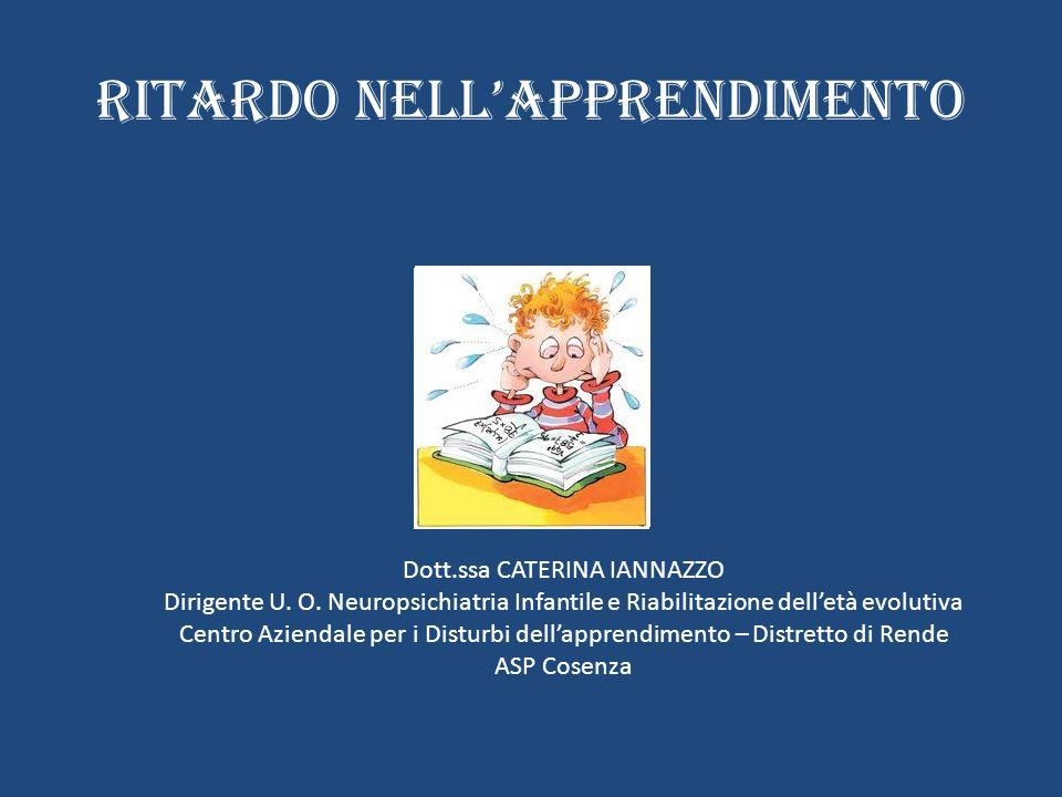 RITARDO NELLAPPRENDIMENTO Dott.ssa CATERINA IANNAZZO Dirigente U. O. Neuropsichiatria Infantile e Riabilitazione delletà evolutiva Centro Aziendale pe