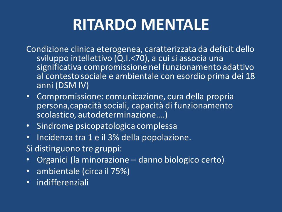 RITARDO MENTALE Condizione clinica eterogenea, caratterizzata da deficit dello sviluppo intellettivo (Q.I.<70), a cui si associa una significativa com