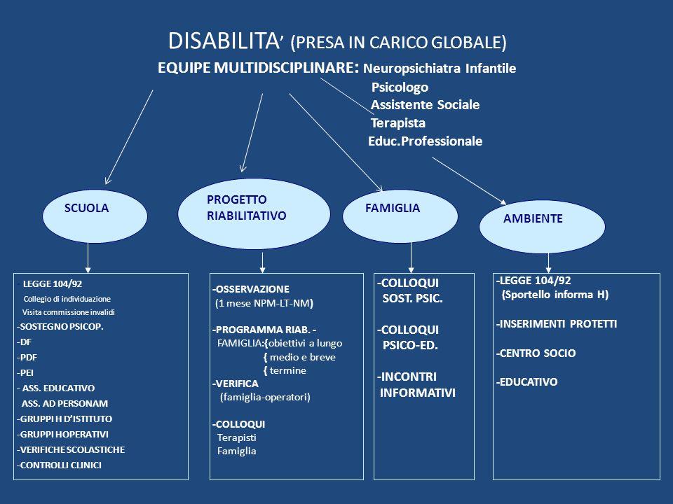 DISABILITA (PRESA IN CARICO GLOBALE) EQUIPE MULTIDISCIPLINARE : Neuropsichiatra Infantile Psicologo Assistente Sociale Terapista Educ.Professionale SC