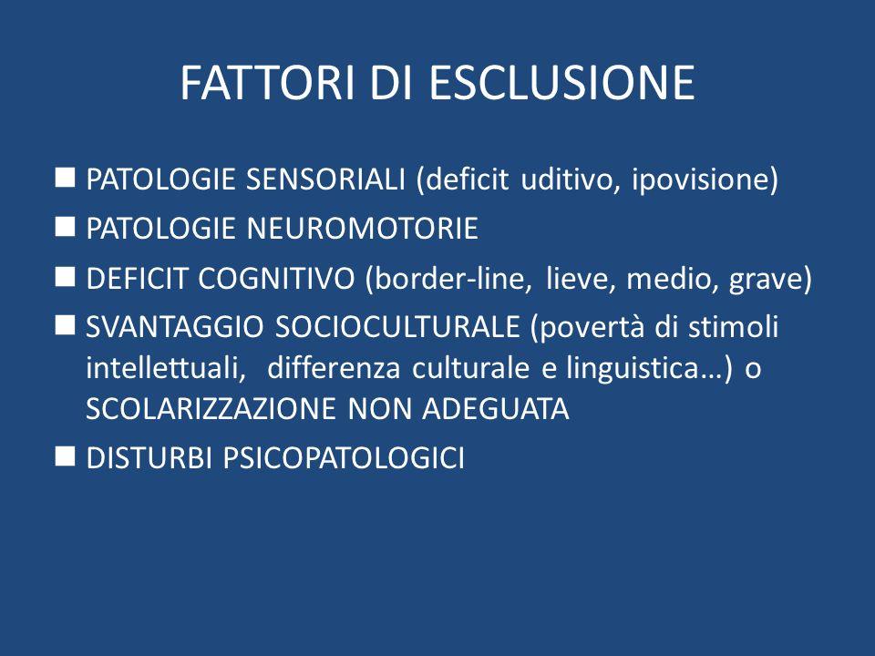 FATTORI DI ESCLUSIONE PATOLOGIE SENSORIALI (deficit uditivo, ipovisione) PATOLOGIE NEUROMOTORIE DEFICIT COGNITIVO (border-line, lieve, medio, grave) S