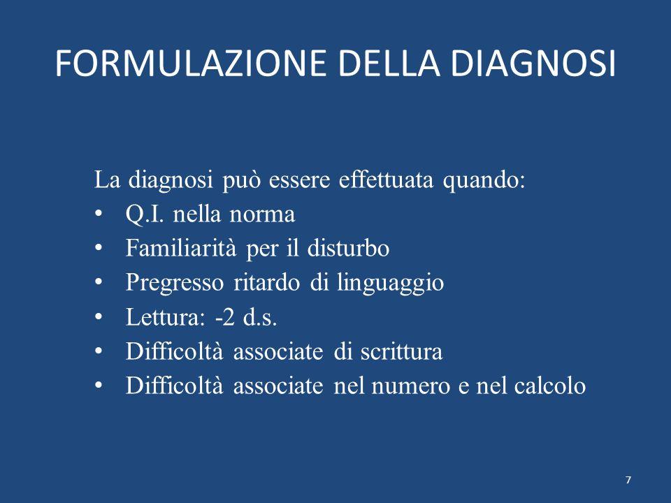 FORMULAZIONE DELLA DIAGNOSI La diagnosi può essere effettuata quando: Q.I. nella norma Familiarità per il disturbo Pregresso ritardo di linguaggio Let