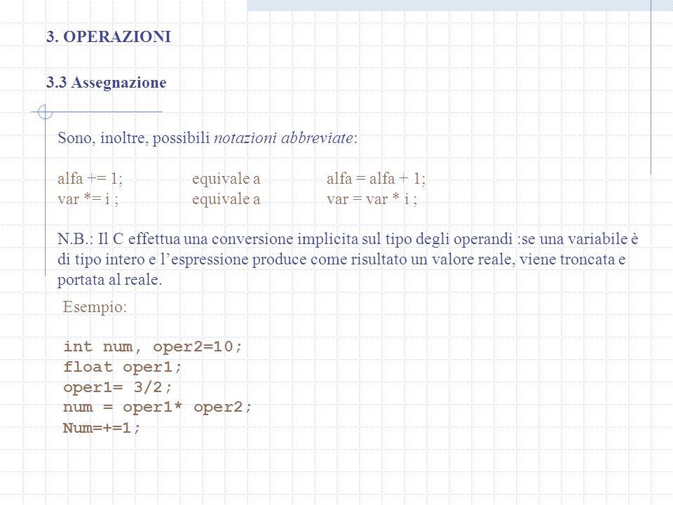 3. OPERAZIONI Sono, inoltre, possibili notazioni abbreviate: alfa += 1; equivale aalfa = alfa + 1; var *= i ; equivale avar = var * i ; N.B.: Il C eff