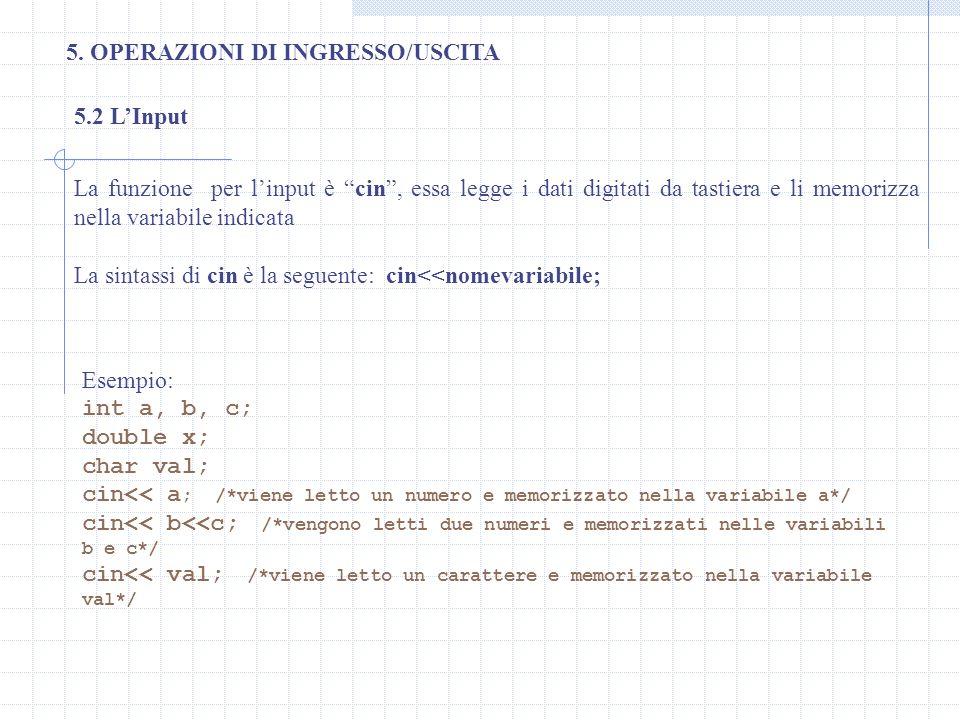 5. OPERAZIONI DI INGRESSO/USCITA 5.2 LInput La funzione per linput è cin, essa legge i dati digitati da tastiera e li memorizza nella variabile indica