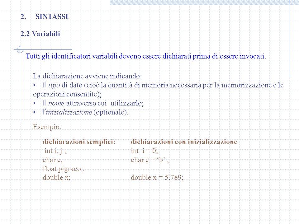 2.SINTASSI 2.2 Variabili Tutti gli identificatori variabili devono essere dichiarati prima di essere invocati. La dichiarazione avviene indicando: il