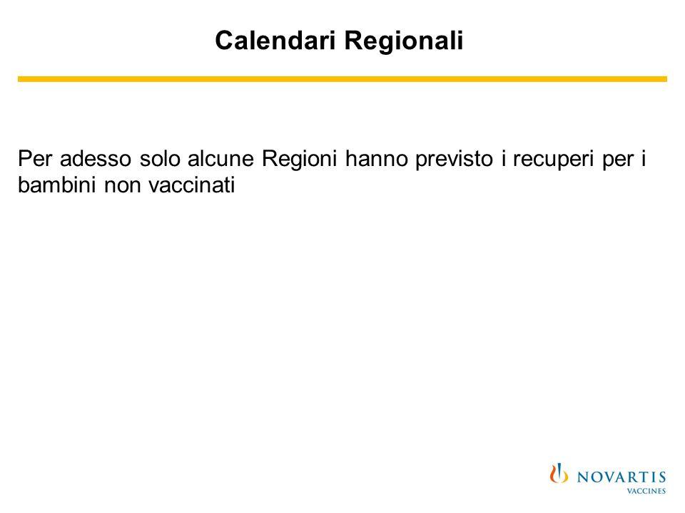 Calendari Regionali Per adesso solo alcune Regioni hanno previsto i recuperi per i bambini non vaccinati