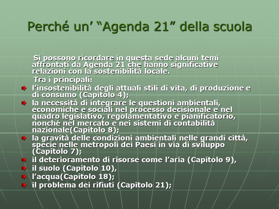 Perché un Agenda 21 della scuola Si possono ricordare in questa sede alcuni temi affrontati da Agenda 21 che hanno significative relazioni con la sost