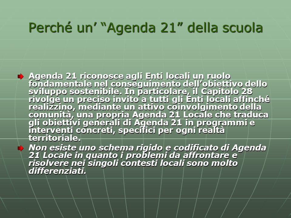Perché un Agenda 21 della scuola Agenda 21 riconosce agli Enti locali un ruolo fondamentale nel conseguimento dellobiettivo dello sviluppo sostenibile.
