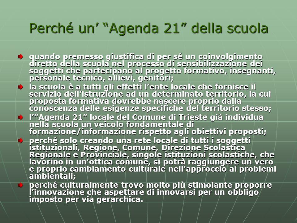 Perché un Agenda 21 della scuola quando premesso giustifica di per sé un coinvolgimento diretto della scuola nel processo di sensibilizzazione dei sog