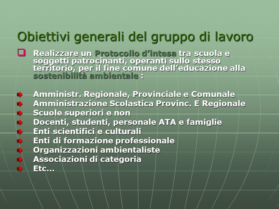 Obiettivi generali del gruppo di lavoro Realizzare un Protocollo dintesa tra scuola e soggetti patrocinanti, operanti sullo stesso territorio, per il