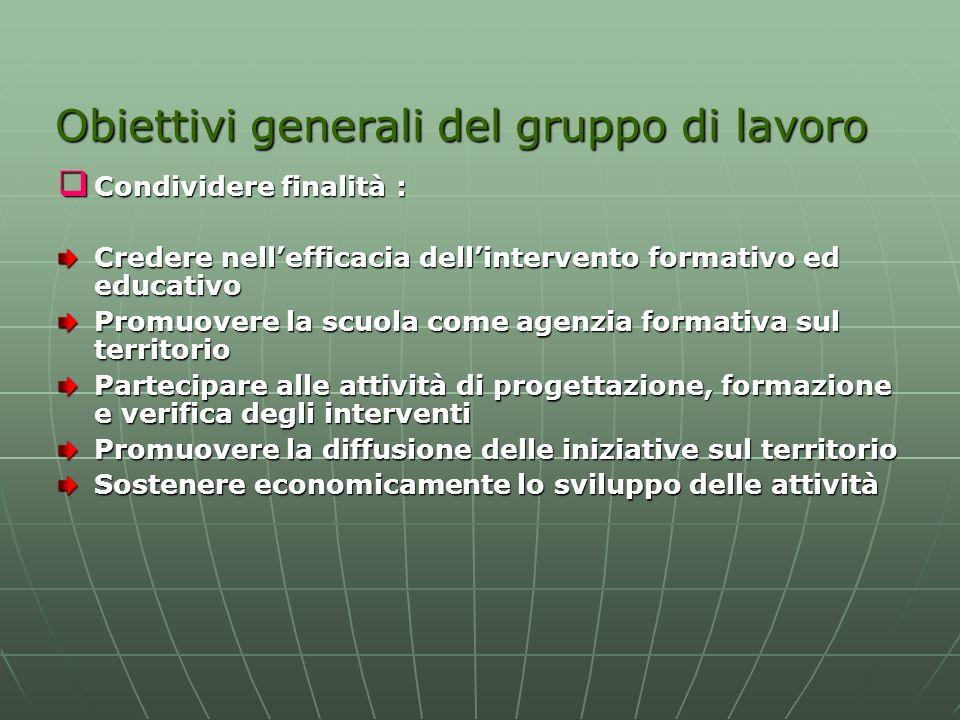Obiettivi generali del gruppo di lavoro Condividere finalità : Condividere finalità : Credere nellefficacia dellintervento formativo ed educativo Prom