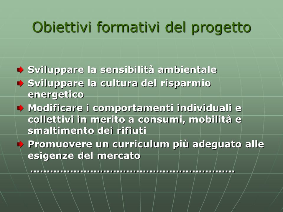 Obiettivi formativi del progetto Sviluppare la sensibilità ambientale Sviluppare la cultura del risparmio energetico Modificare i comportamenti indivi