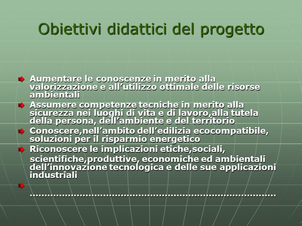 Obiettivi didattici del progetto Aumentare le conoscenze in merito alla valorizzazione e allutilizzo ottimale delle risorse ambientali Assumere compet