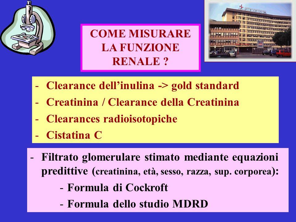 COME MISURARE LA FUNZIONE RENALE ? -Clearance dellinulina -> gold standard -Creatinina / Clearance della Creatinina -Clearances radioisotopiche -Cista