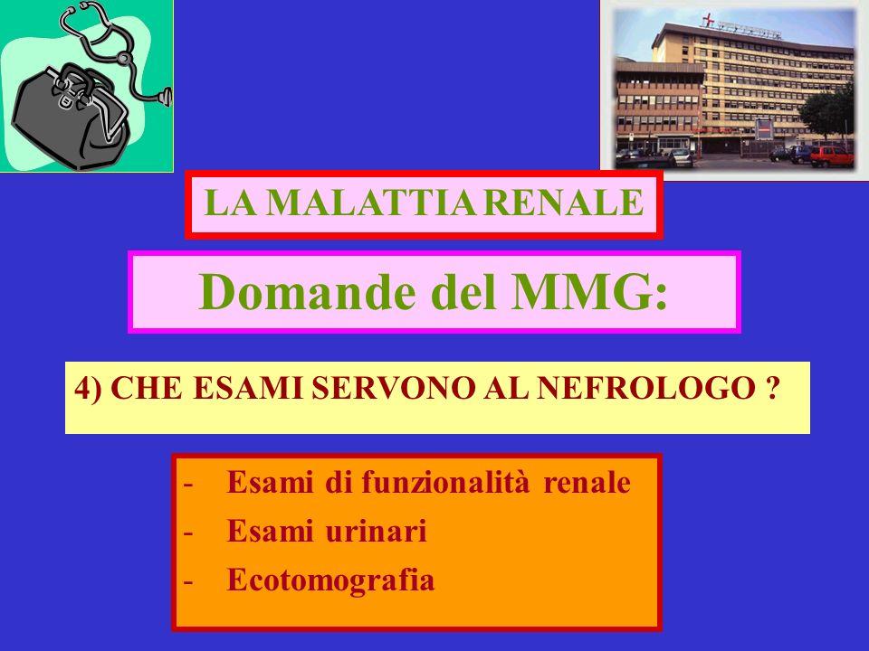 Domande del MMG: 4) CHE ESAMI SERVONO AL NEFROLOGO ? LA MALATTIA RENALE -Esami di funzionalità renale -Esami urinari -Ecotomografia