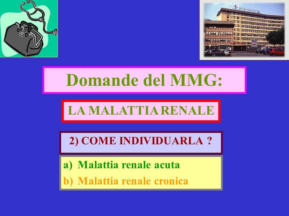 Domande del MMG: 2) COME INDIVIDUARLA ? LA MALATTIA RENALE a)Malattia renale acuta b)Malattia renale cronica