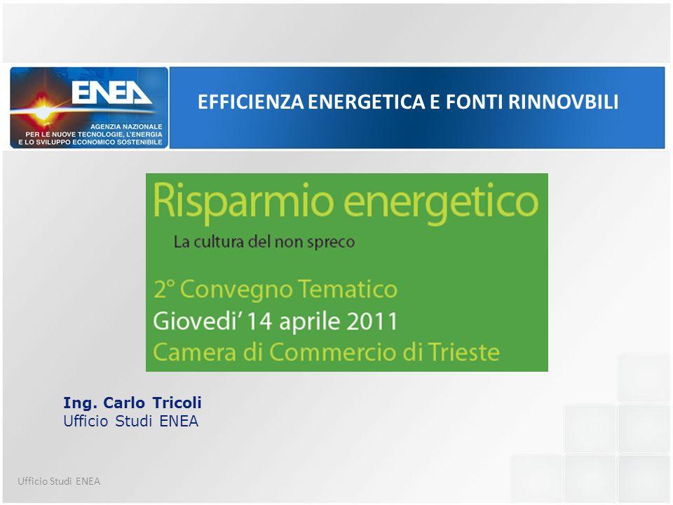 Ufficio Studi ENEA Ing. Carlo Tricoli Ufficio Studi ENEA EFFICIENZA ENERGETICA E FONTI RINNOVBILI