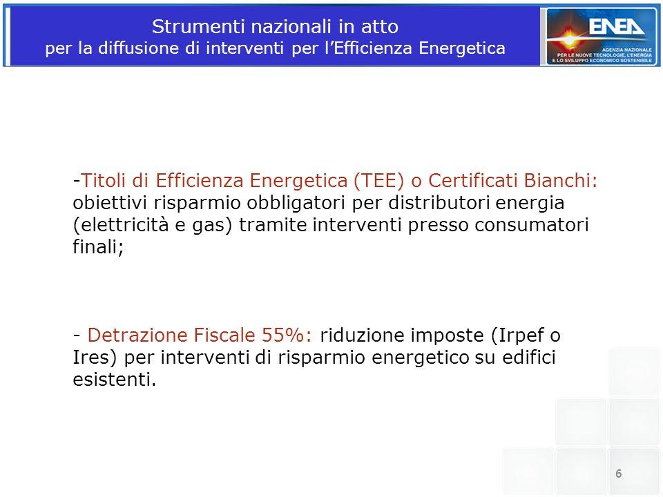 Strumenti nazionali in atto per la diffusione di interventi per lEfficienza Energetica -Titoli di Efficienza Energetica (TEE) o Certificati Bianchi: o