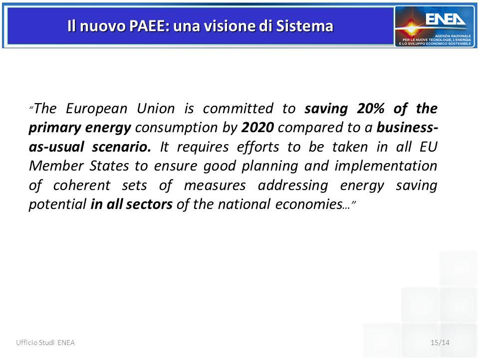 15/14 Ufficio Studi ENEA Il nuovo PAEE: una visione di Sistema The European Union is committed to saving 20% of the primary energy consumption by 2020