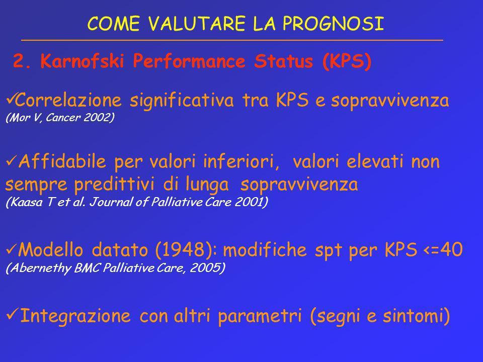 Correlazione significativa tra KPS e sopravvivenza (Mor V, Cancer 2002) Affidabile per valori inferiori, valori elevati non sempre predittivi di lunga