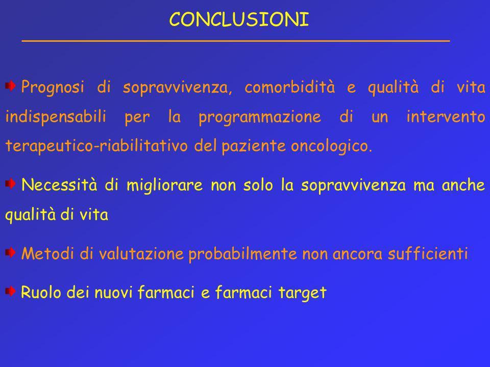 CONCLUSIONI Prognosi di sopravvivenza, comorbidità e qualità di vita indispensabili per la programmazione di un intervento terapeutico-riabilitativo d