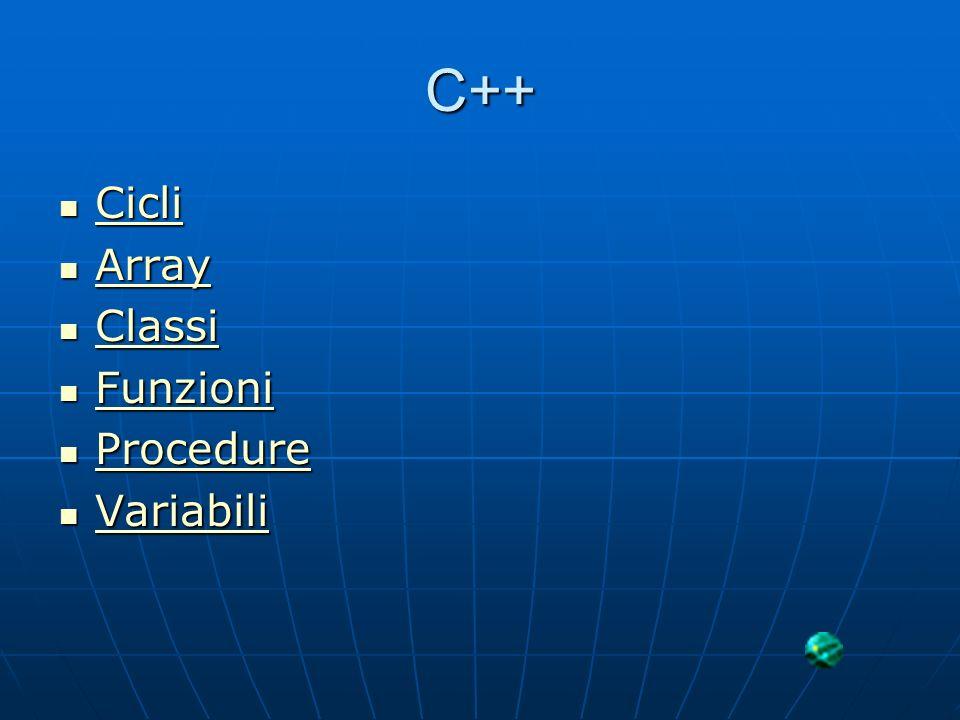 C++ Cicli Cicli Cicli Array Array Array Classi Classi Classi Funzioni Funzioni Funzioni Procedure Procedure Procedure Variabili Variabili Variabili