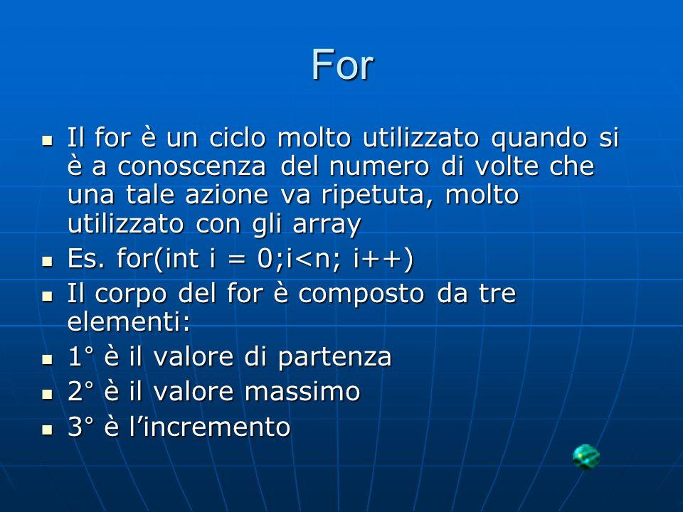 For Il for è un ciclo molto utilizzato quando si è a conoscenza del numero di volte che una tale azione va ripetuta, molto utilizzato con gli array Il
