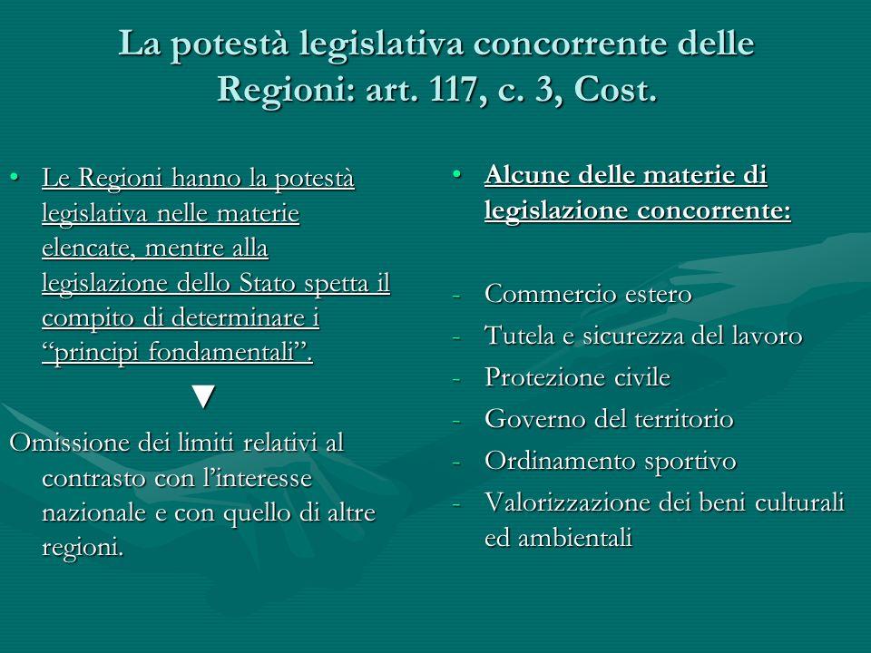 La potestà legislativa concorrente delle Regioni: art. 117, c. 3, Cost. Le Regioni hanno la potestà legislativa nelle materie elencate, mentre alla le