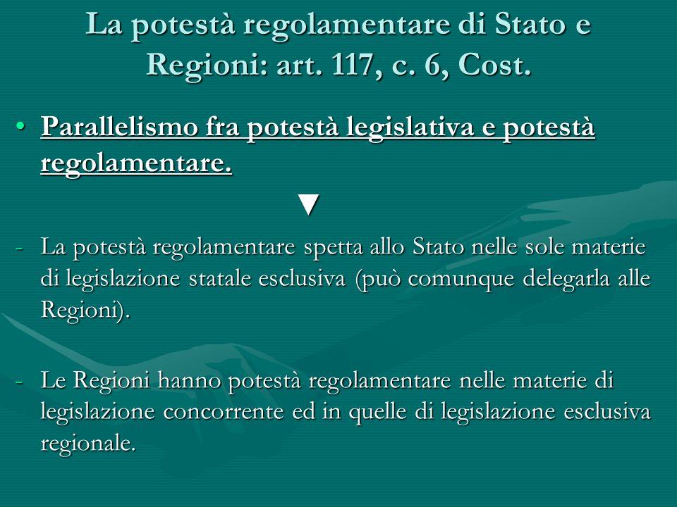 La potestà regolamentare di Stato e Regioni: art. 117, c. 6, Cost. Parallelismo fra potestà legislativa e potestà regolamentare.Parallelismo fra potes