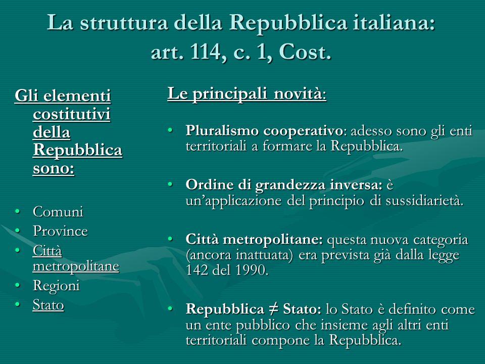 La struttura della Repubblica italiana: art. 114, c. 1, Cost. Gli elementi costitutivi della Repubblica sono: ComuniComuni ProvinceProvince Città metr
