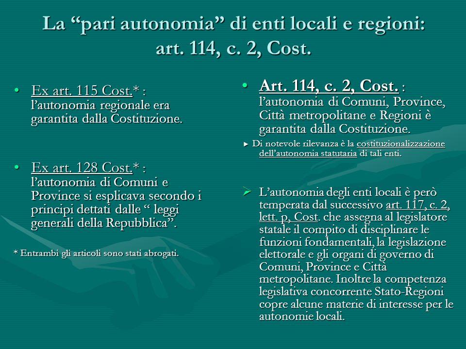 La pari autonomia di enti locali e regioni: art. 114, c. 2, Cost. Ex art. 115 Cost.* : lautonomia regionale era garantita dalla Costituzione.Ex art. 1
