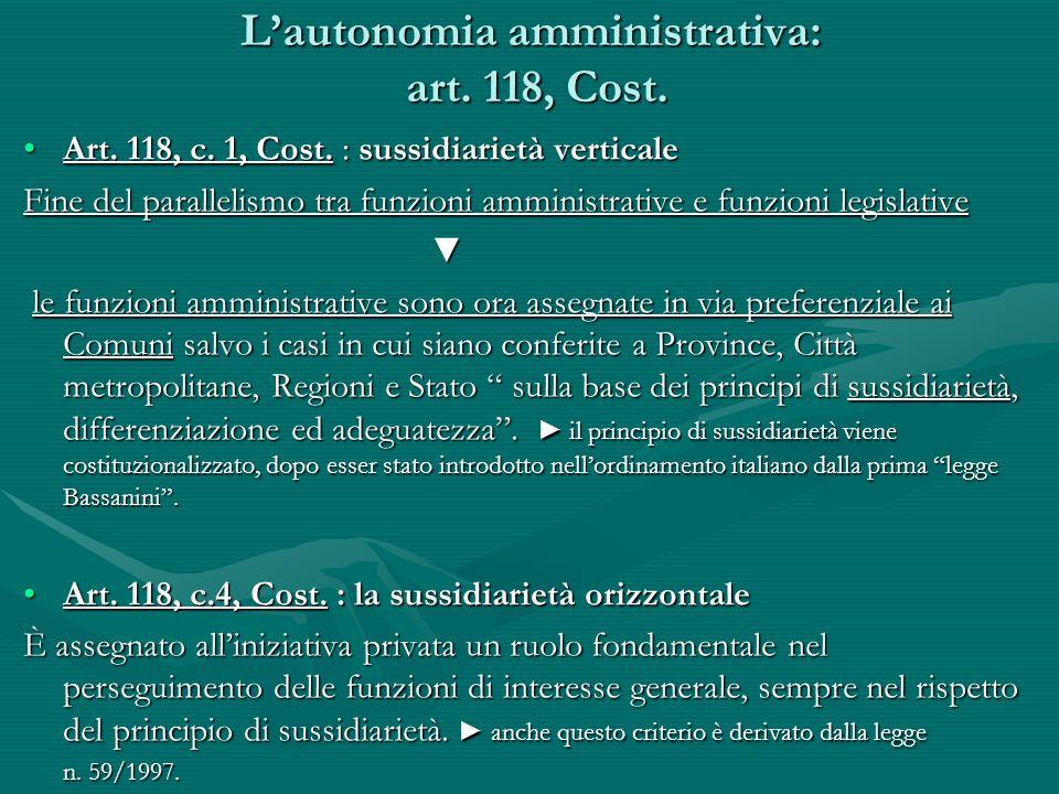 Lautonomia amministrativa: art. 118, Cost. Art. 118, c. 1, Cost. : sussidiarietà verticaleArt. 118, c. 1, Cost. : sussidiarietà verticale Fine del par