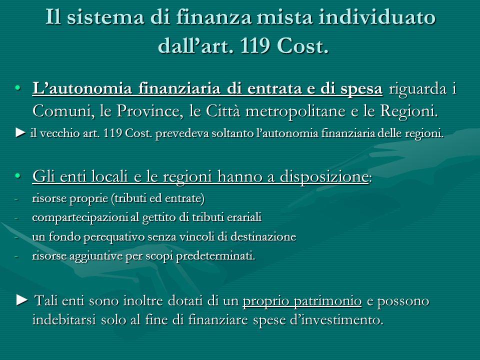 Il sistema di finanza mista individuato dallart. 119 Cost. Lautonomia finanziaria di entrata e di spesa riguarda i Comuni, le Province, le Città metro