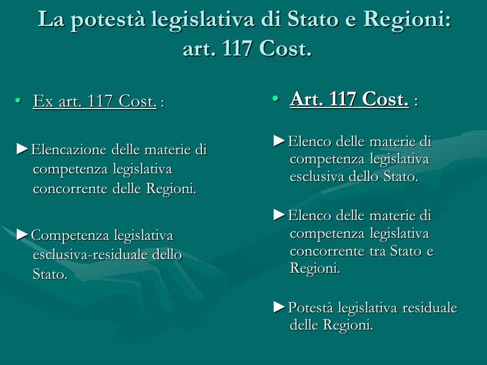 La potestà legislativa di Stato e Regioni: art. 117 Cost. Ex art. 117 Cost. :Ex art. 117 Cost. : Elencazione delle materie di competenza legislativa c