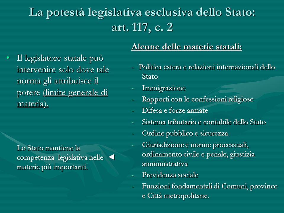 La potestà legislativa esclusiva dello Stato: art. 117, c. 2 Il legislatore statale può intervenire solo dove tale norma gli attribuisce il potere (li
