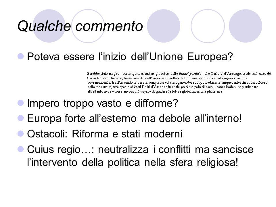 Qualche commento Poteva essere linizio dellUnione Europea? Impero troppo vasto e difforme? Europa forte allesterno ma debole allinterno! Ostacoli: Rif