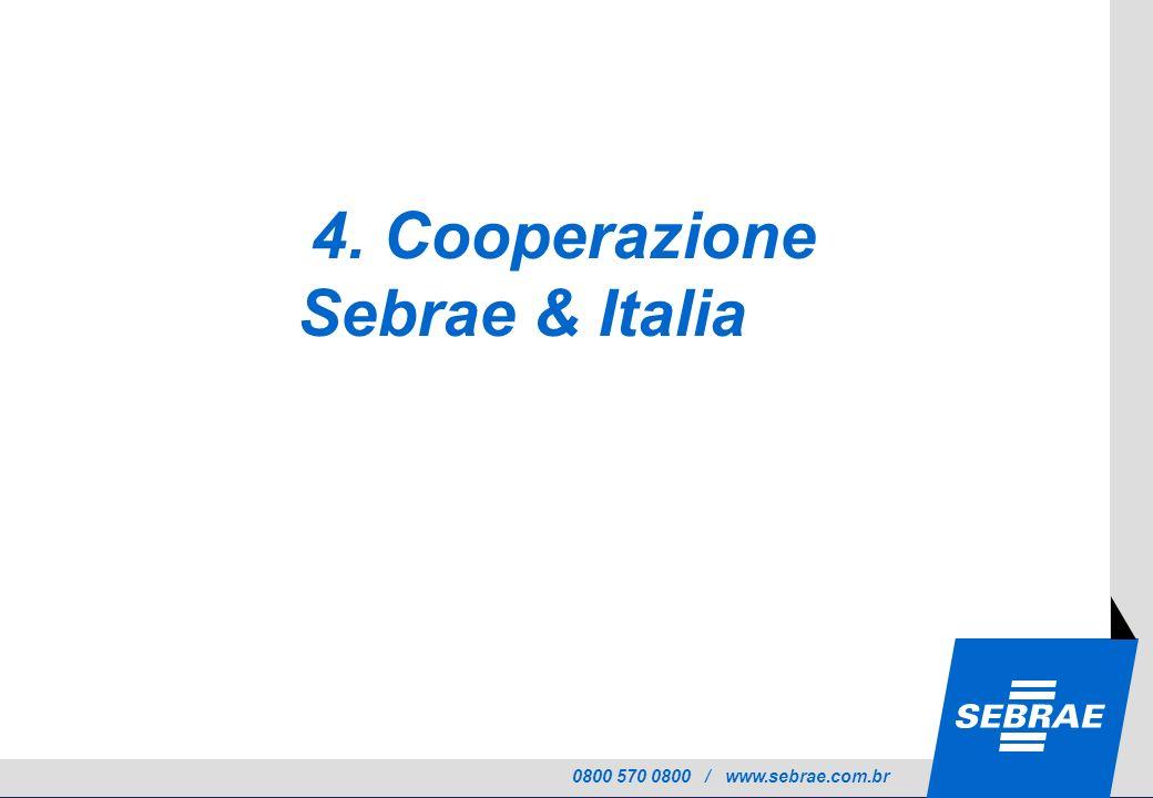0800 570 0800 / www.sebrae.com.br 4. Cooperazione Sebrae & Italia
