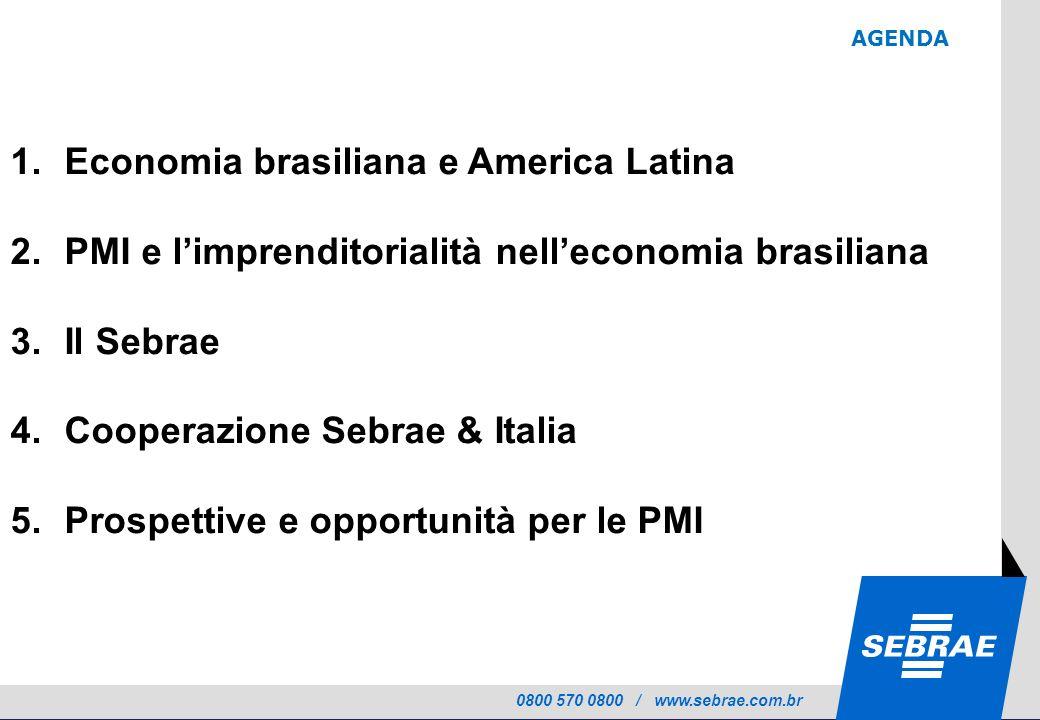 0800 570 0800 / www.sebrae.com.br AGENDA 1.Economia brasiliana e America Latina 2.PMI e limprenditorialità nelleconomia brasiliana 3.Il Sebrae 4.Cooperazione Sebrae & Italia 5.Prospettive e opportunità per le PMI