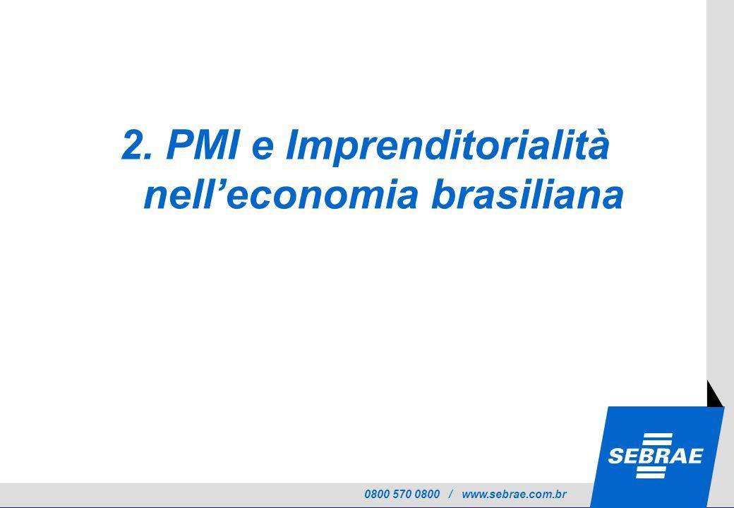 0800 570 0800 / www.sebrae.com.br 2. PMI e Imprenditorialità nelleconomia brasiliana