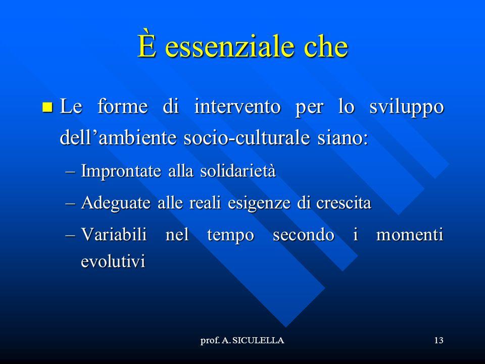 prof. A. SICULELLA13 È essenziale che Le Le forme di intervento per lo sviluppo dellambiente socio-culturale siano: –Improntate –Improntate alla solid