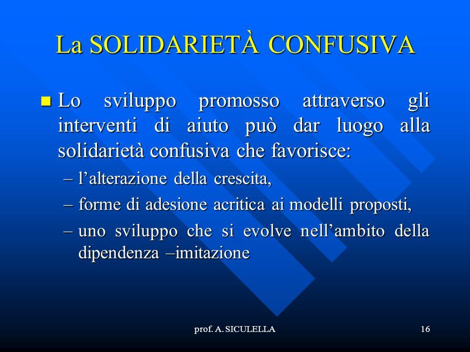 prof. A. SICULELLA16 La SOLIDARIETÀ CONFUSIVA Lo Lo sviluppo promosso attraverso gli interventi di aiuto può dar luogo alla solidarietà confusiva che