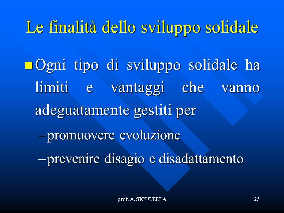 prof. A. SICULELLA25 Le finalità dello sviluppo solidale Ogni Ogni tipo di sviluppo solidale ha limiti e vantaggi che vanno adeguatamente gestiti per