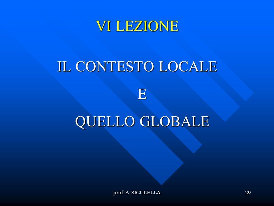 prof. A. SICULELLA29 VI LEZIONE IL CONTESTO LOCALE E QUELLO GLOBALE